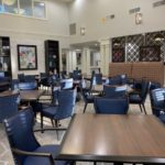 Dining hall with new chairs and tables.